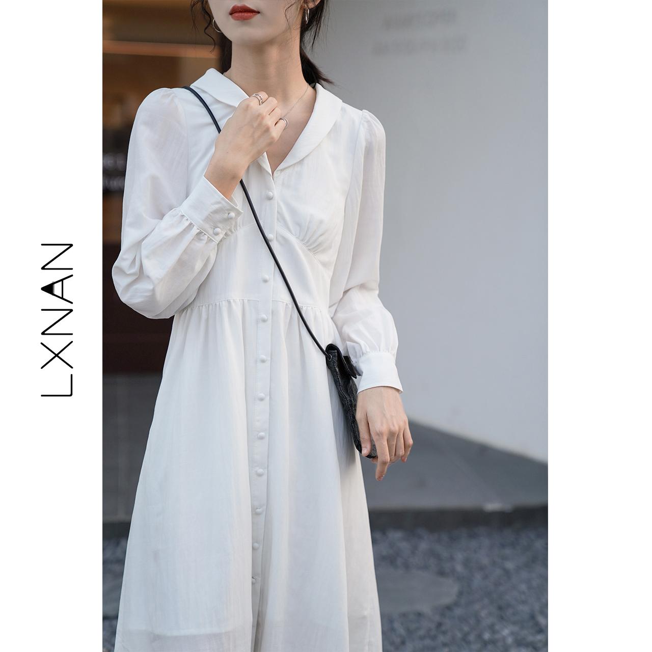 【鹿向南】2020春款设计感白色连衣裙