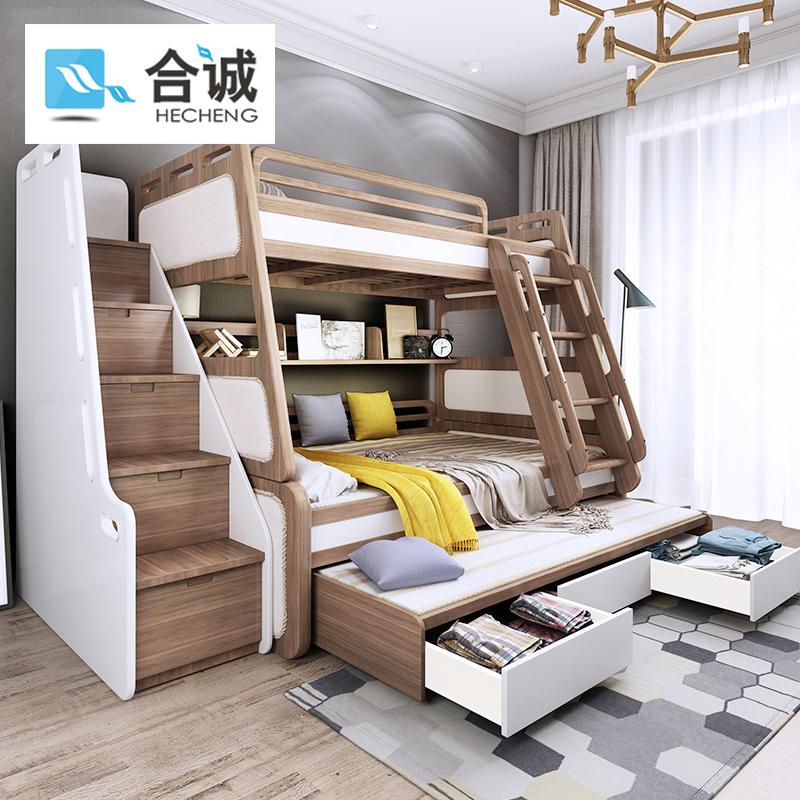合誠北欧実木高低ベッドの二段ベッドは大人の母子ベッドの二階の子供用ベッドの男の子を分割して上から下のベッドに行きます。