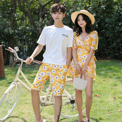 Couple Swimsuit Set 2021 New Summer Xianqi Siamese Conservative Covering Belly Thin Honeymoon Seaside Water Park