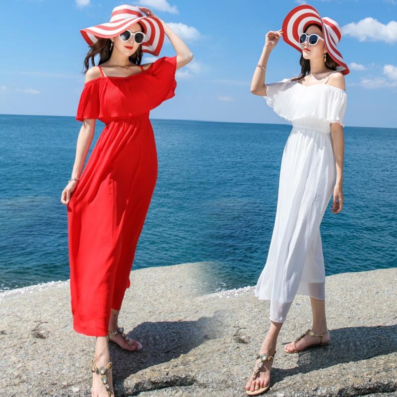 2018新款女夏海边度假长裙泰国旅游显瘦仙气吊带连衣裙沙滩裙