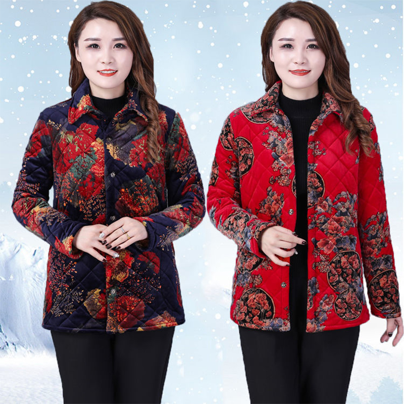 Middle aged and old womens coat with plush and thick cotton padded jacket mothers autumn and winter shirt warm old womens short cotton padded jacket