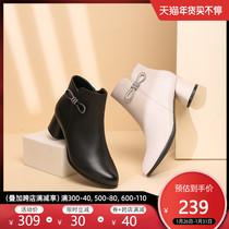 红蜻蜓女鞋2020秋新款百搭真皮短靴蝴蝶结时装靴时尚瘦瘦裸靴