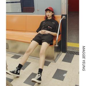 工装连体裤女夏高腰显瘦宽松收腰黑色短裤连衣裤套装连体衣女装