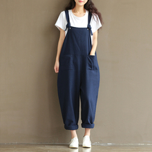 Womens Casual Loose Linen Pants Jumpsuit Trousers Overalls
