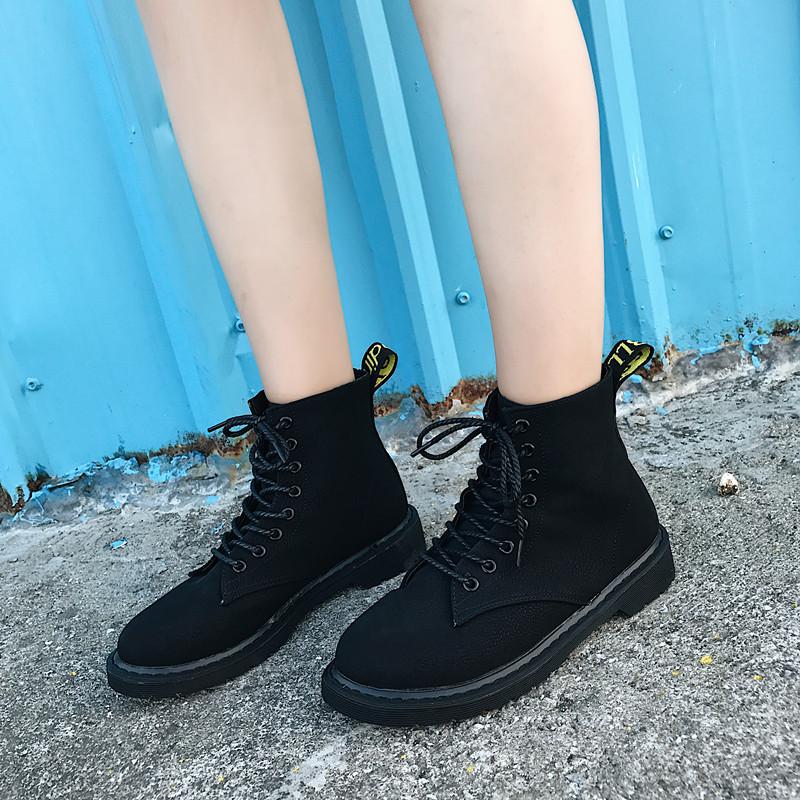 2017新款韩版复古磨砂马丁靴女英伦风秋季单靴子学生平底百搭短靴