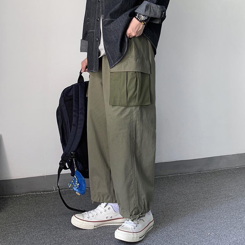 自制日系复古宽松多口袋装饰休闲裤限4000张券