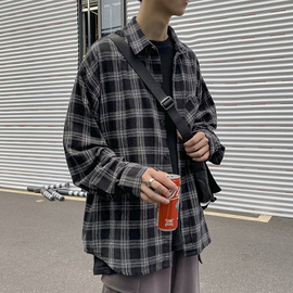自制韩国原宿长袖衬衫男2020新款韩版秋季学生百搭休闲衬衣外套