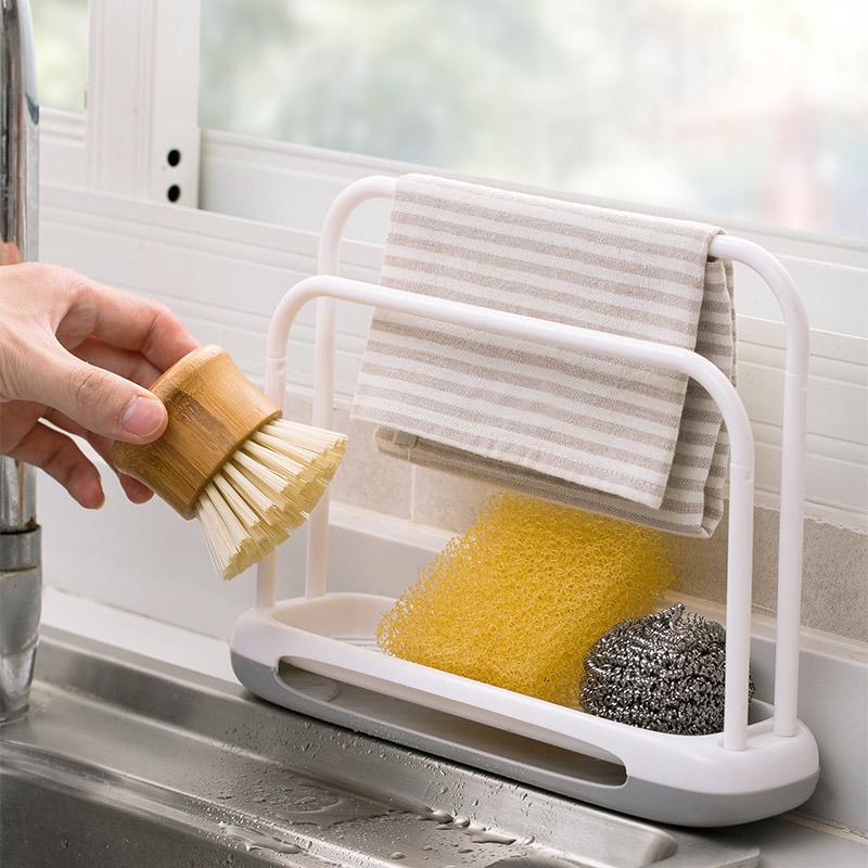 热销1020件买三送一塑料抹布架台面清洁沥水架厨房水槽肥皂置物架多功能海绵收纳架