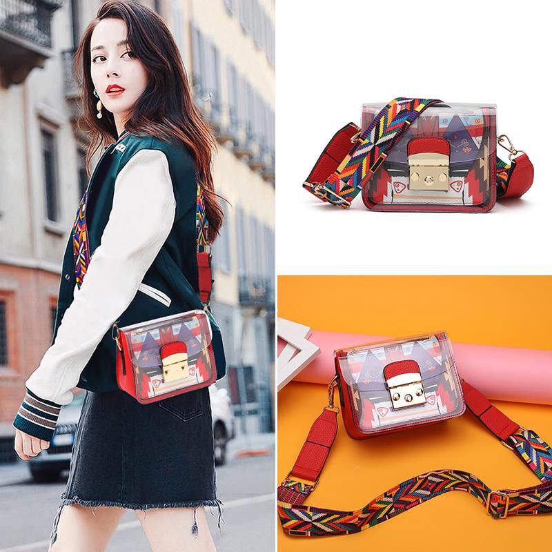 Transparent jelly bag womens Korean version ins wide shoulder belt color belt 2021 new mini one shoulder cross bag mother bag