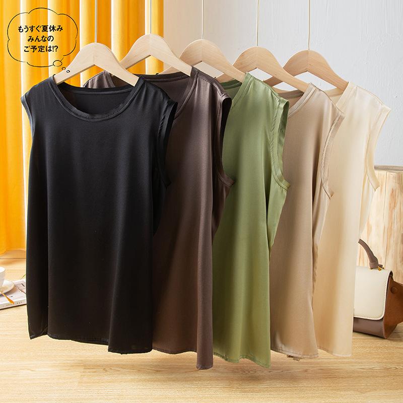 Heavyweight silk vest womens sleeveless T-shirt as silk top silk satin bottom coat solid color shirt summer