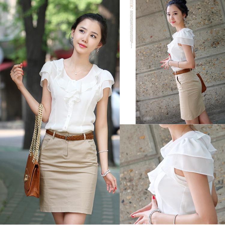 短袖女装雪纺衫2017韩版夏季新款修身大码职业OL工装白衬衣衬衫女