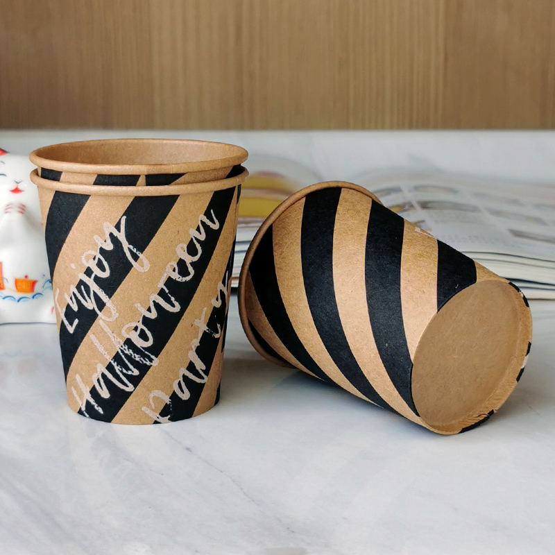 Kraft paper cup customized disposable household coffee milk tea hot drink thickened paper cup soybean milk tea cup commercial