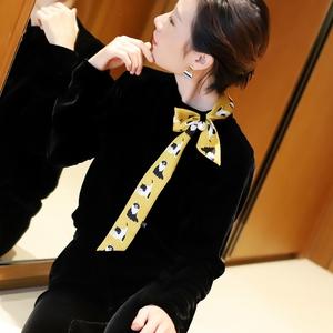 领子巨吸睛  套头真丝丝绒上衣女 撞色领巾珍珠扣 丝绒长袖卫衣秋
