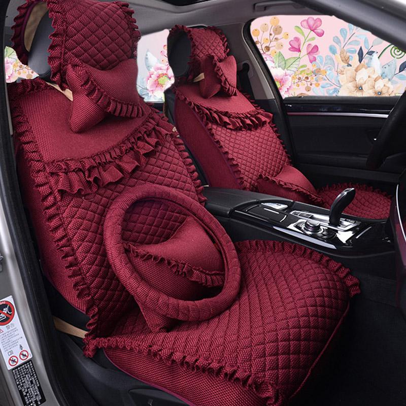 新款蕾丝汽车座垫女四季全包围卡罗拉凯越福克斯亚麻专用可爱座套