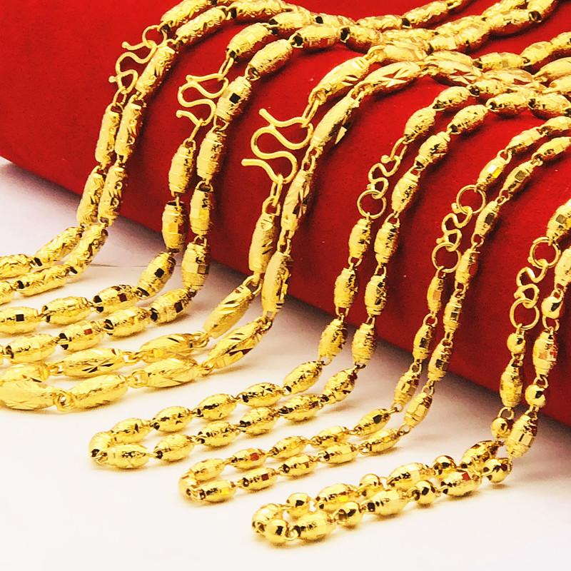 情侣越南沙金橄榄珠项链欧币硬币镀24k假黄金空心圆球链 久不掉色