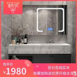 现代轻奢浴室柜卫生间大理石台盆北欧简约双盆实木洗脸盆洗漱台盆