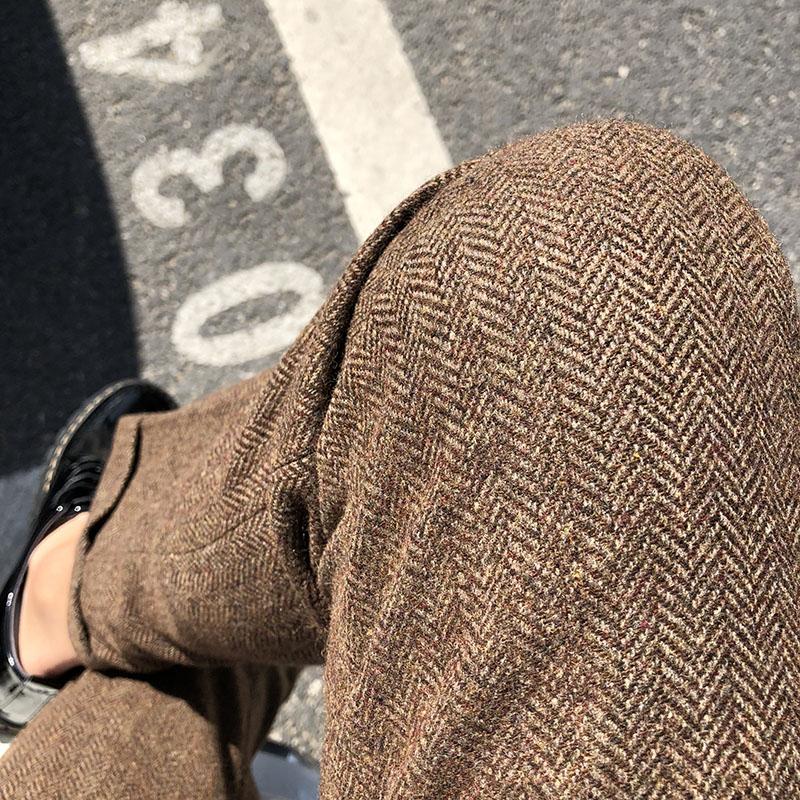 11-01新券秋冬季厚款男士羊毛宽松直筒西裤