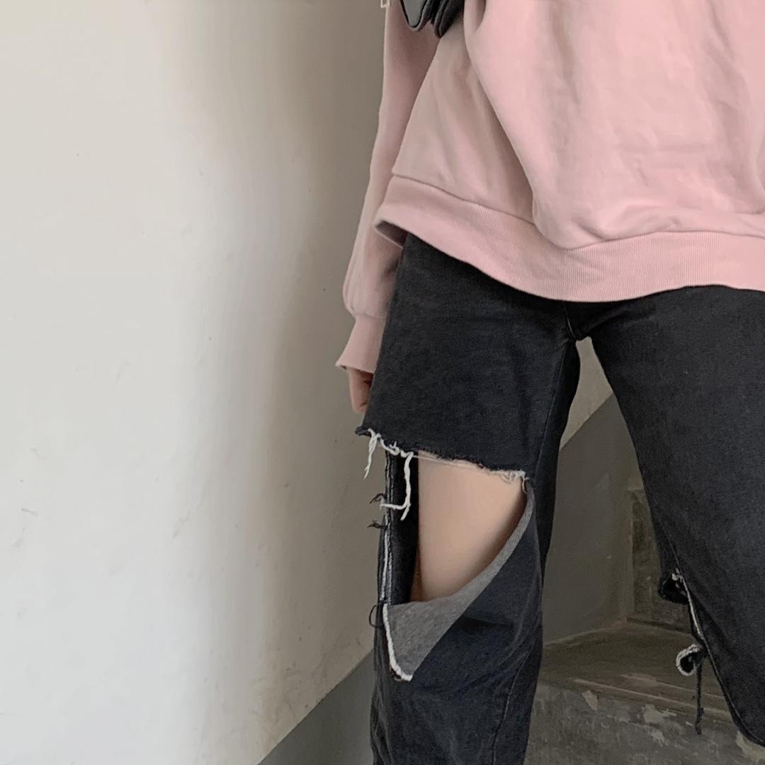 胖妹妹宽松牛仔裤女2020新款女装高腰黑色破洞直筒阔腿裤子显瘦潮