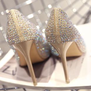 春夏新款婚鞋女水钻尖头高跟鞋细跟金色公主婚纱新娘银色单鞋2018