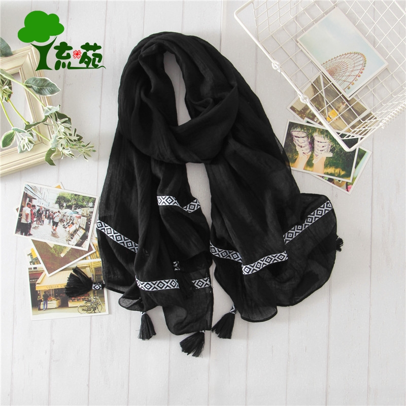 New cotton and hemp womens scarf spring and autumn beach scarf super large national style retro scarf versatile solid color student black