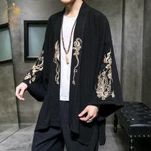 中国风仙鹤刺绣道袍男开衫大码宽松新款日系和服休闲个性汉服外套
