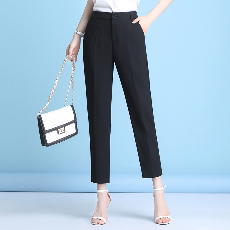 Suit pants female Capris children 2020 new straight loose casual trousers high waist black pipe pants female Xia