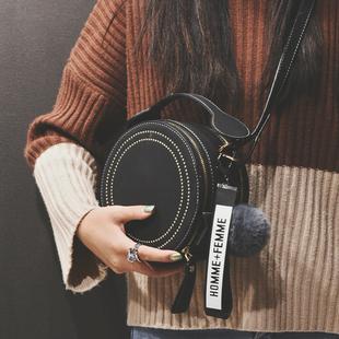 法国小众包包女包秋冬新款2019网红时尚百搭单肩斜挎包手提小圆包