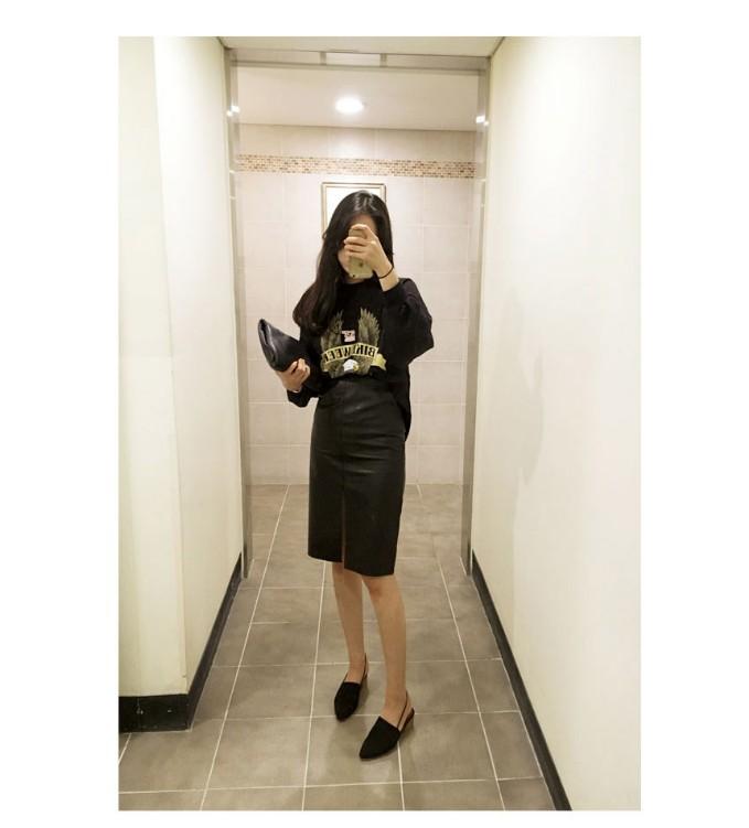 High waist leather skirt autumn winter new style front slit one step skirt slim and slim buttock skirt medium skirt female Pu skirt
