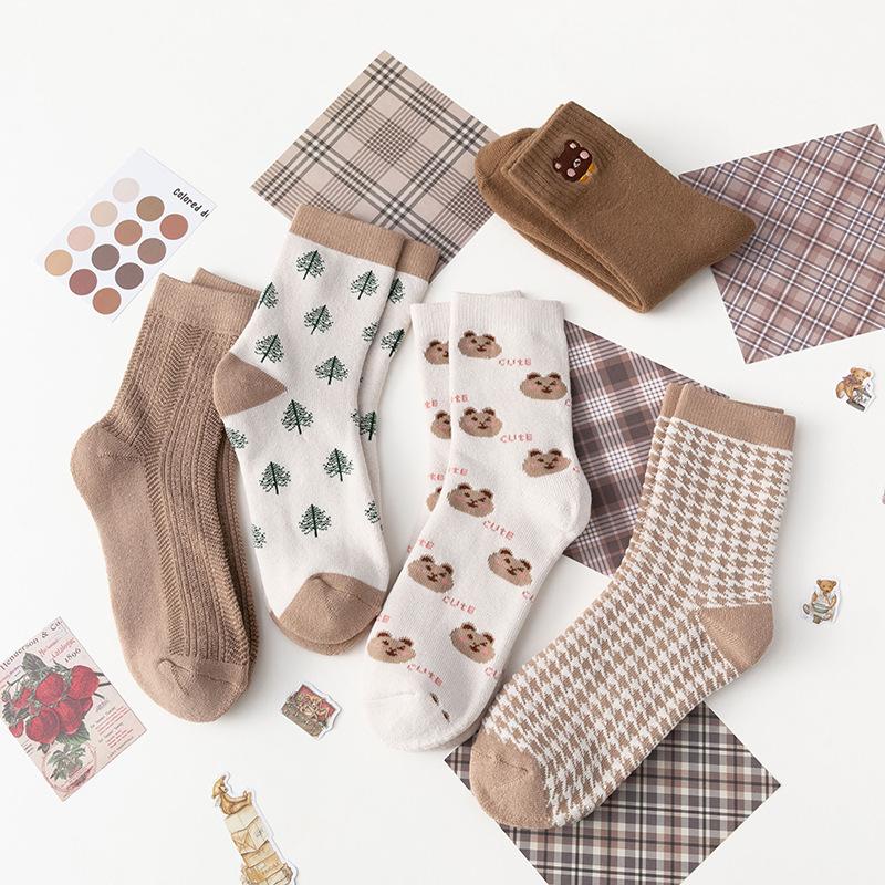New year socks autumn and winter thickened warm coffee terry socks cute animal cartoon socks snow towel socks