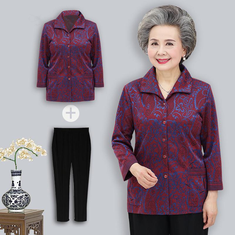 老年人秋装女60岁妈妈装长袖衬衫70奶奶春秋薄款衬衣老人外套衣服