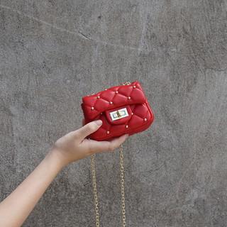 韩版儿童包包女童时尚斜挎包铆钉菱格迷你链条小包公主出游小挎包