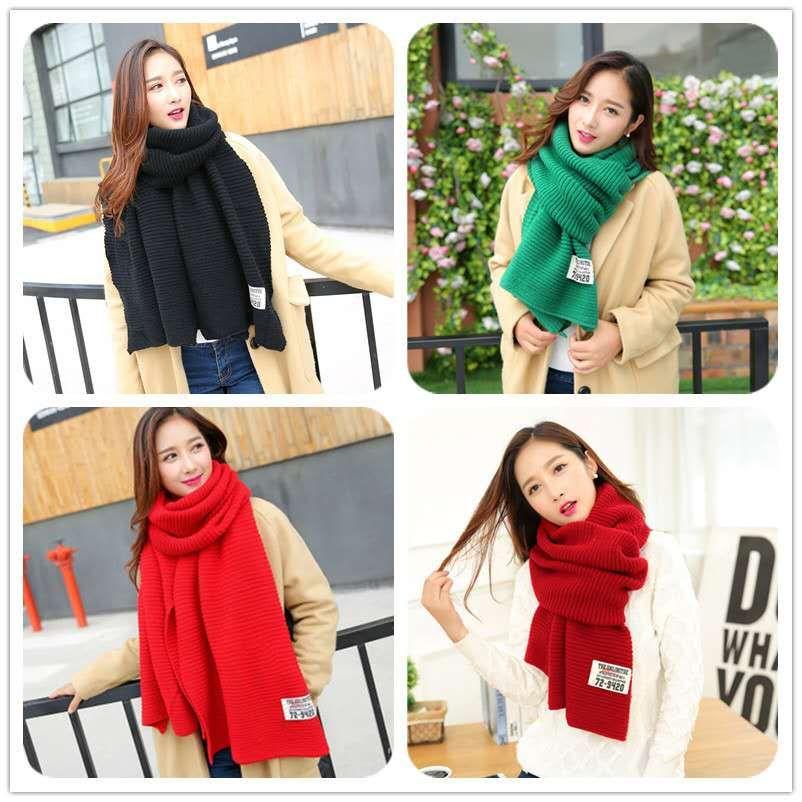韩版冬季针织毛线围巾秋冬学生加厚纯色布标情侣百搭围脖男女披肩