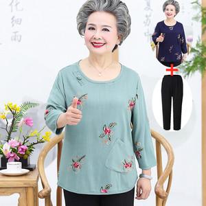 奶奶夏装长袖t恤老年人女妈妈民族风套装宽松小衫母亲节老人衣服