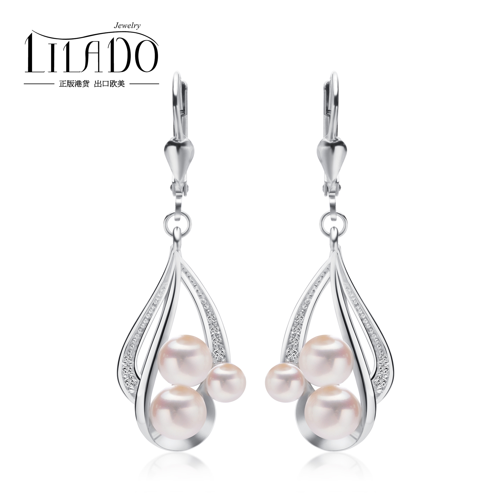 925 Sterling Silver Natural Freshwater Pearl Earrings Korean fashion temperament long Sterling Silver Earrings