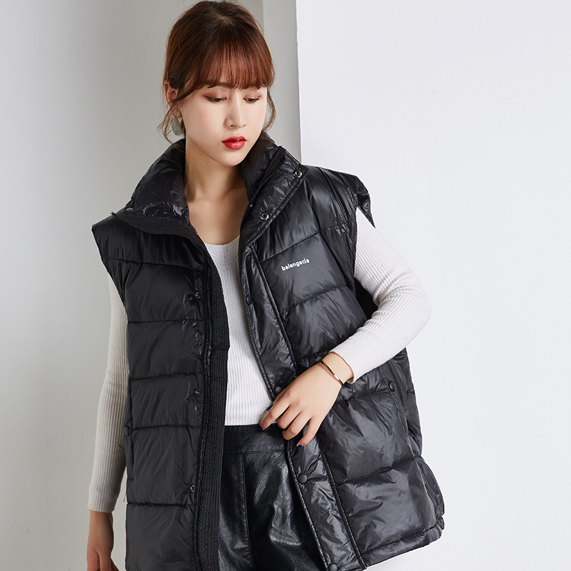 Down vest womens white duck down casual loose large Korean sleeveless vest jacket for men and women