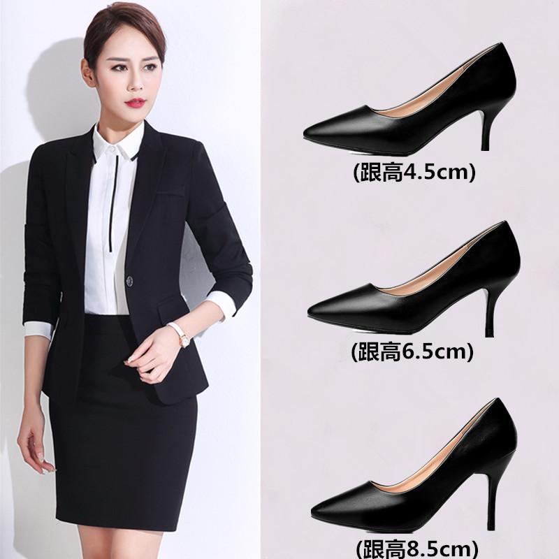云颖 百丽单鞋女式皮鞋黑色高跟鞋女职业中跟面试正装工作鞋小码