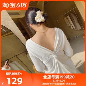 【CheriZ张子萱】多色基础T恤女性感露背长袖上衣百搭显瘦打底衫