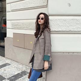 【张子萱CheriZ】时尚墨绿袖口格子元素英伦风百搭显瘦小西服装