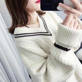 2020秋装新款韩版学生套头V领毛衣女宽松时尚百搭慵懒针织打底衫