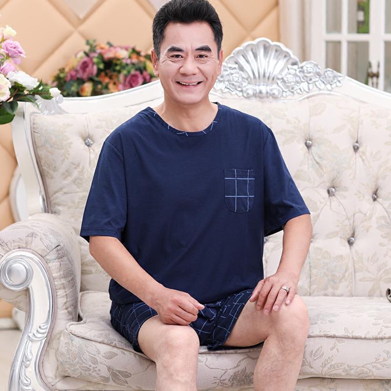 中老年男士睡衣夏季男式短袖短裤纯棉爸爸老人家居服父亲中年套装