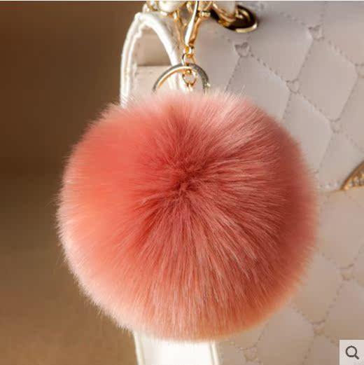 挂饰小号装饰狐狸毛粉色黑色红色挂件饰品毛绒包包毛球兔毛书包钥