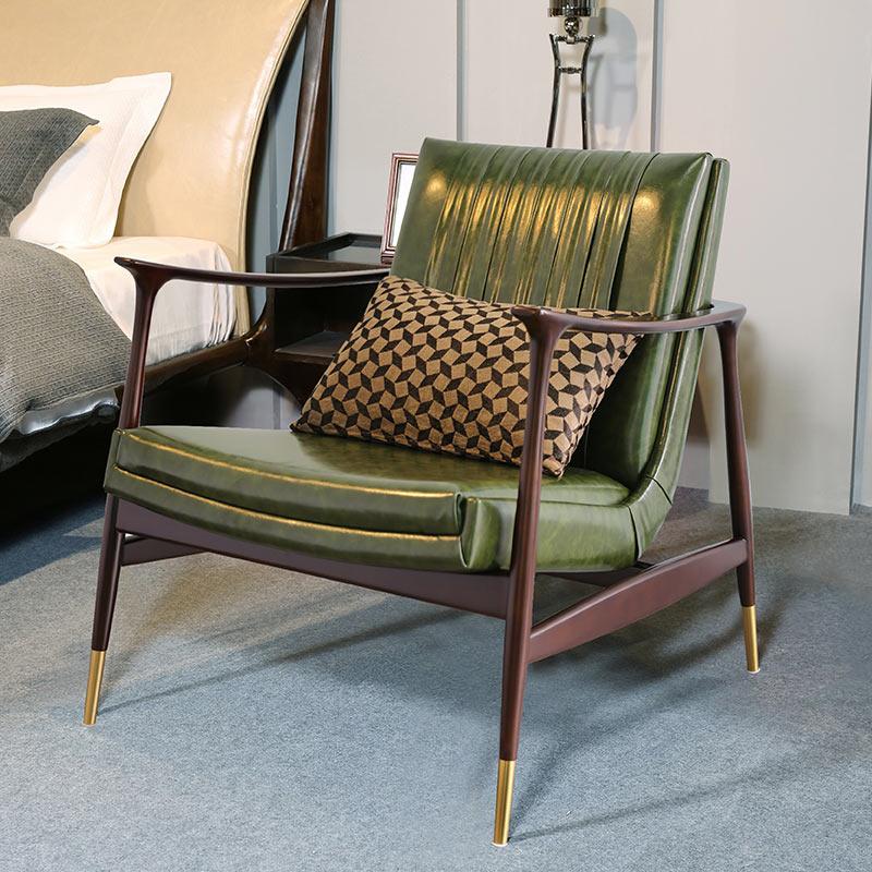 Nordic single sofa and chair Italian modern luxury furniture customized solid wood designer balcony leisure single chair
