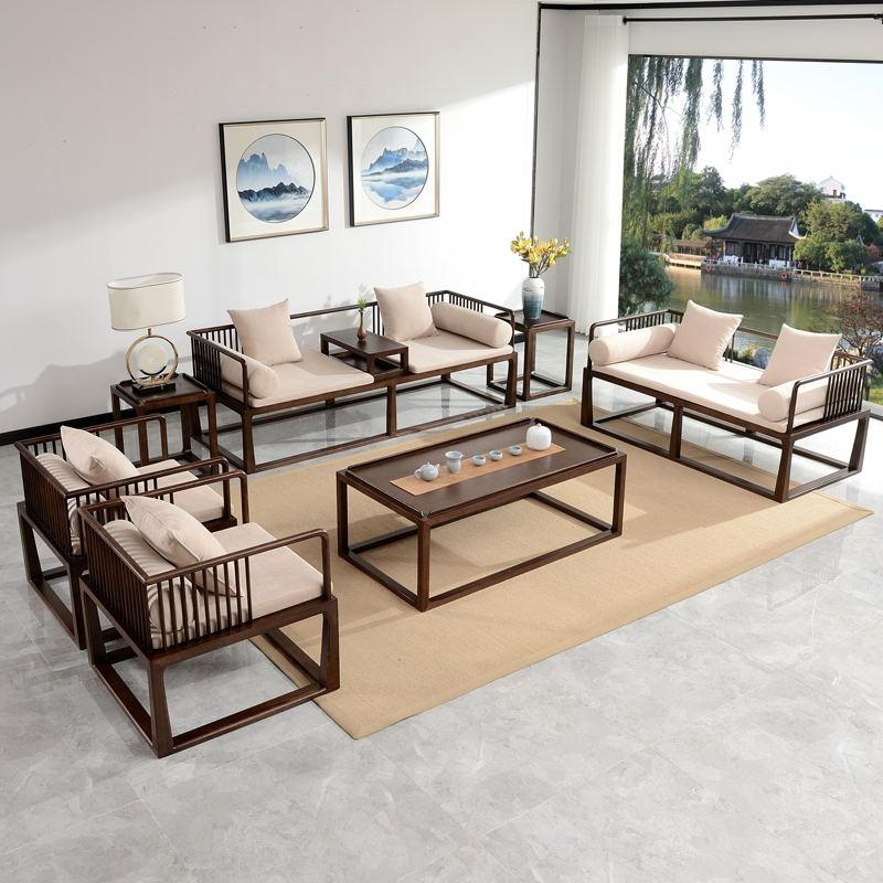 新中式实木沙发 禅意民宿中国风现代简约客厅样板房酒店家具定制