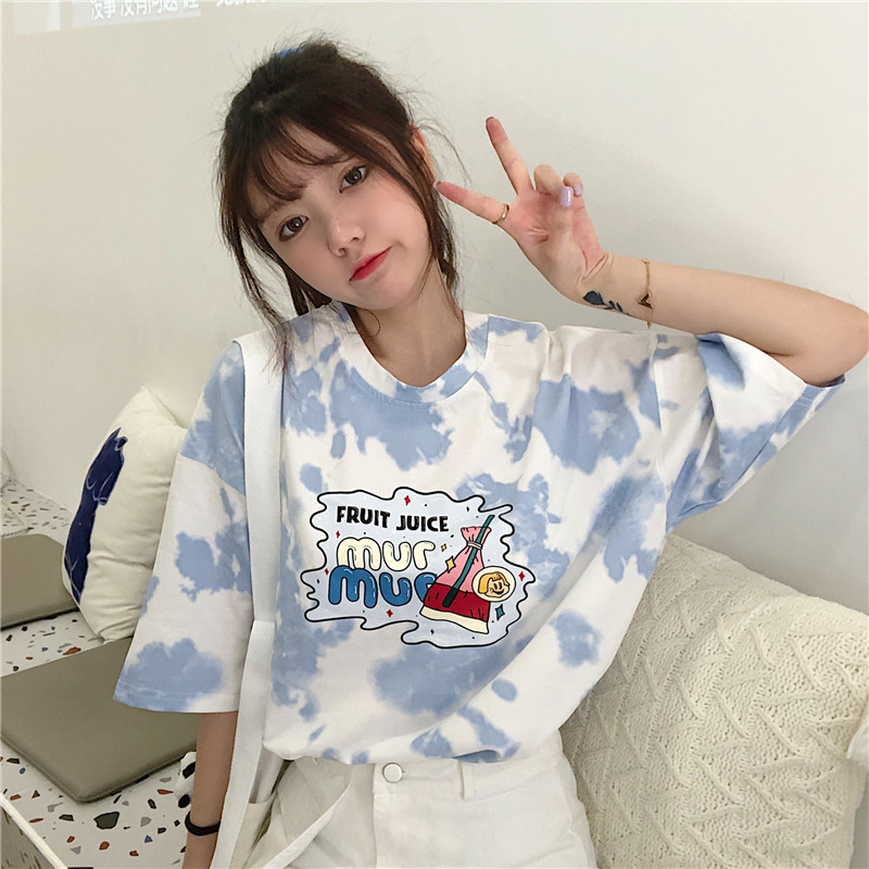 Summer 2021 new tie dye printing loose fitting round neck half sleeve letter pattern T-shirt student T-shirt