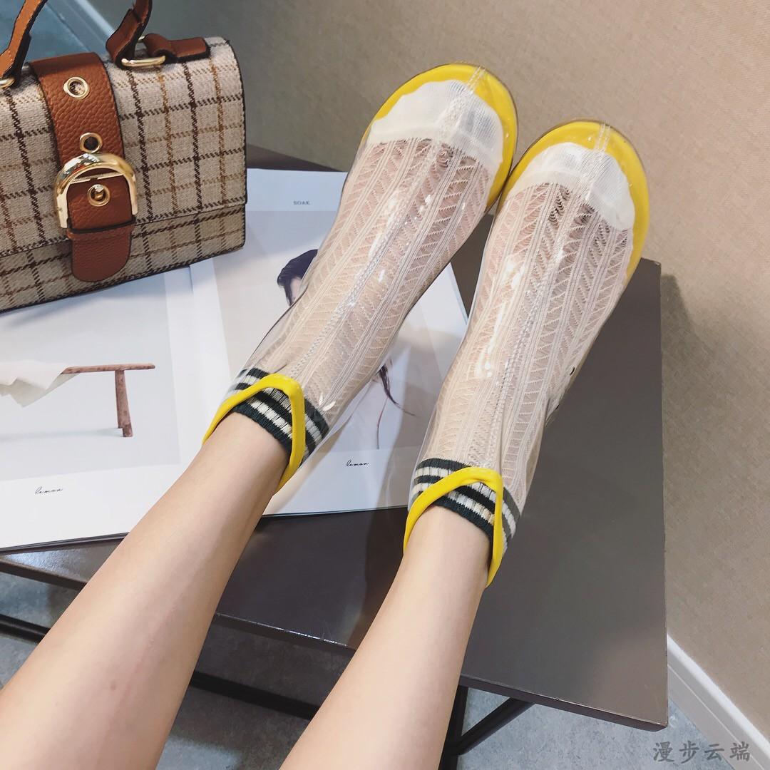 2018网红女鞋夏天透明凉鞋靴子短靴女夏水晶鞋粗跟韩版PVC高跟鞋
