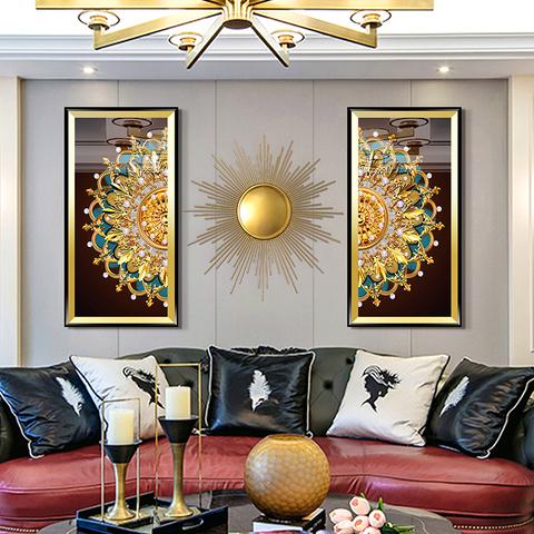 美式轻奢客厅装饰画欧式沙发背景墙挂画玄关画高档简美大气壁画