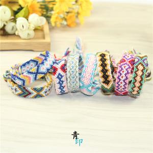 彩色编织手链尼泊尔风手编彩虹手链幸运转运友谊手绳情侣编织手链