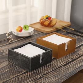 实木高档开放式纸巾盒餐厅方巾纸盒酒店正方形餐巾纸抽纸盒定logo