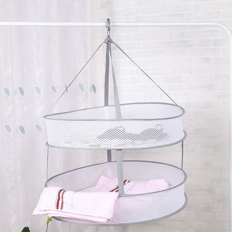 Drying basket drying net double layer saving clothes hanger air detachable clothes ventilating artifact special ventilation and drainage hook