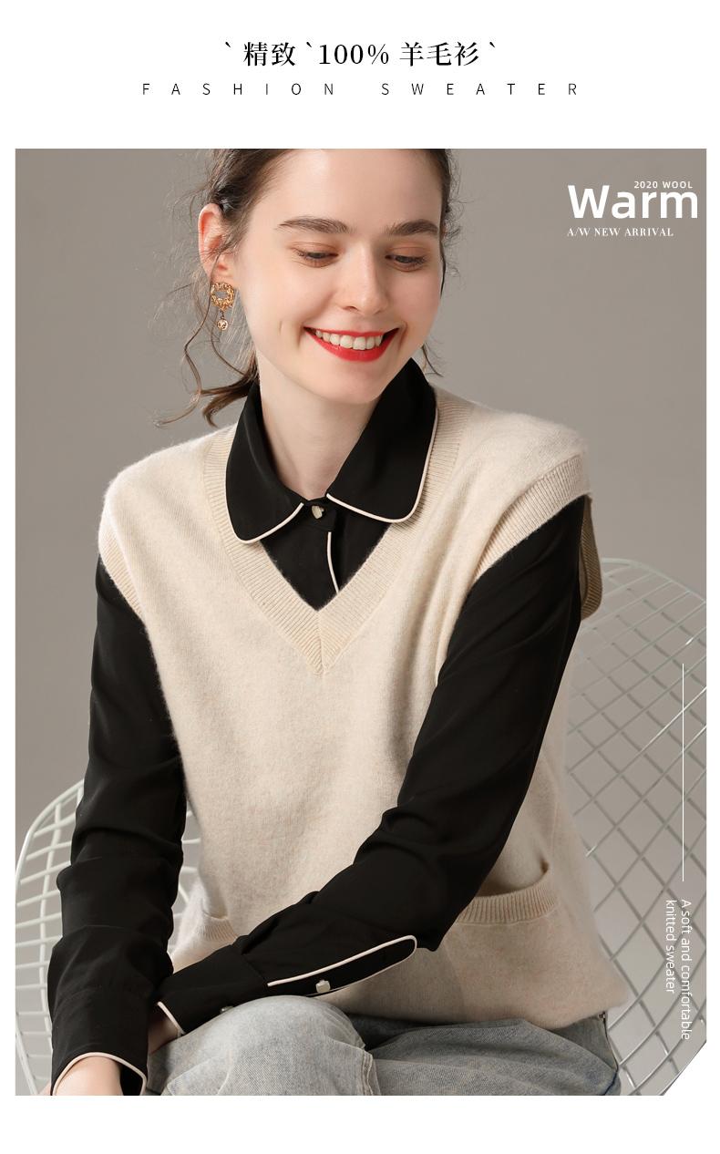 2020秋冬羊毛衫女V领宽松马甲 外穿针织背心100%纯羊毛外搭工装